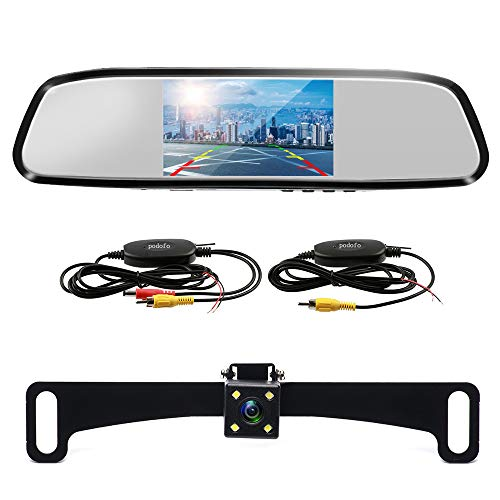 Podofo Wireless Backup Camera Kit 4.3 inch Bluetooth Rearview Mirror MP5 Monitor Reverse Car Frame Camera Waterproof lP67 Night Vision Parking System -