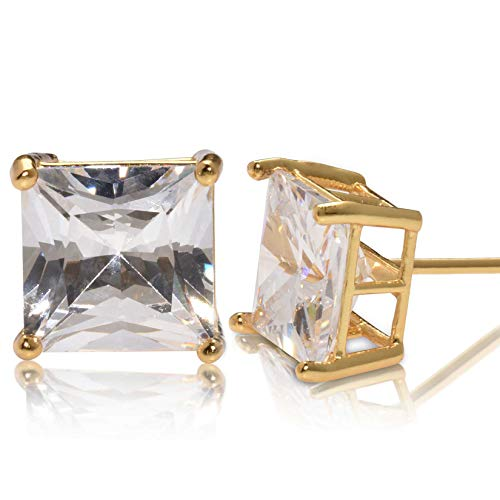 Square Princess Cut 10mm white Cubic Zirconia .925 Sterling Silver Gold Plated Basket Setting Unisex Stud Earrings
