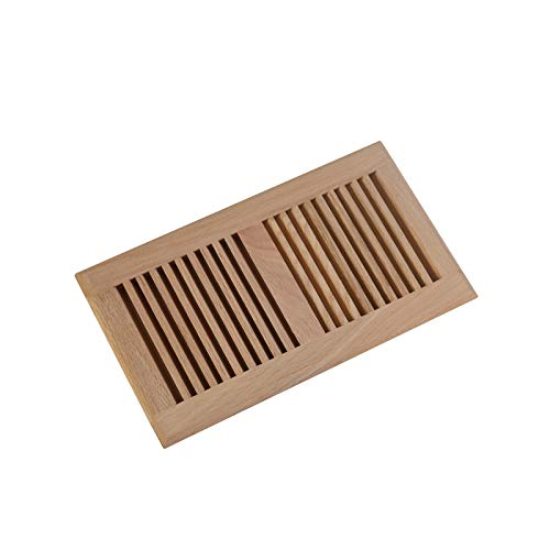 WELLAND 6 Inch x 12 Inch Red Oak Hardwood Vent Floor Register Self - Register Wood Floor Vent Inch 12