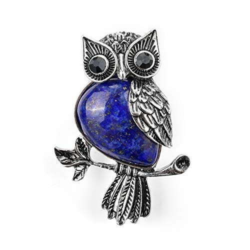 - CrystalTears Vintage Owl Brooch Pins Spiritual Energy Gemstone Healing Crystal Rhinestone Brooch for Women Men Wedding Banquet
