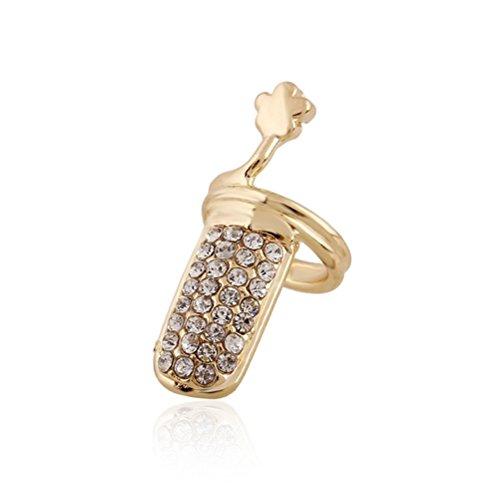 Winter's Secret Diamond Accented Gold Color Women and Girls Fashion Flower Fingernail Ring