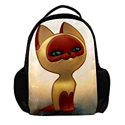 Backpack for Women and Men Lapto Backpack shoulder bag Travel Backpack for Boys and Girls Kids Anti Theft School Backpacks hiking bags Art Cat Red 11x5x15inch