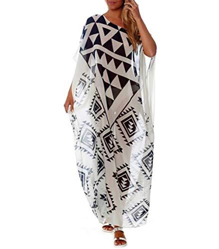 Chiffon Kaftan - Bigbigfuture Women's Turkish Kaftan Dress Chiffon Caftan Cover up for Swimwear Long Maxi Tunic Print Beachwear (Geo-Print F)