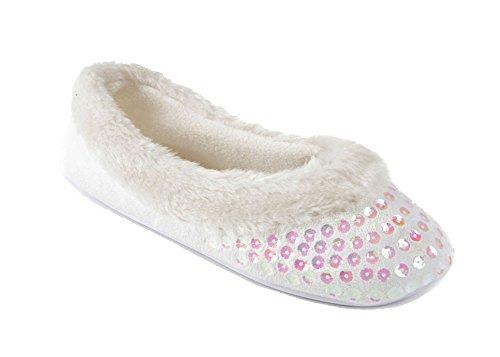 Socks Uwear�? Slumberzz, Damen Durchgängies Plateau Sandalen mit Keilabsatz Weiß