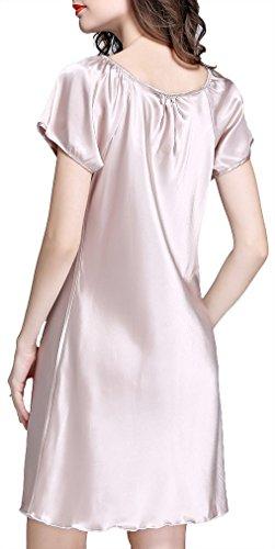 FLYCHEN Mujer Satin Short Sleeve Nightdress Lace Silk Lightweight Nightshirt camello