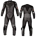 Motorcycle New Black Two piece Leather Track Racing Suit CE Approved Protection (LARGE)