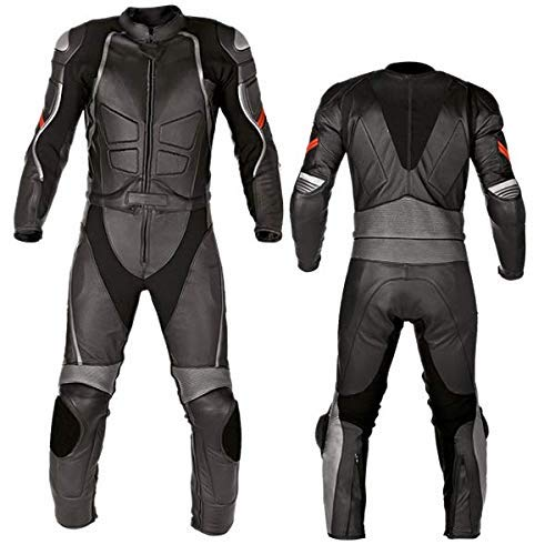 Motorcycle New Black Two piece Leather Track Racing Suit CE Approved Protection (X-LARGE) ()