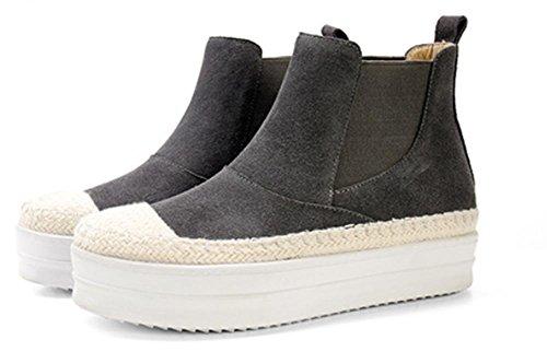 paja mollete inferior Duantong zapatos grey botas primavera planos de botas botas mujer 5ZaqTaxw