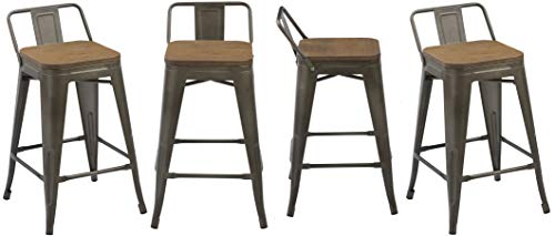 Outdoor Wood Finish Bar Stool - BTEXPERT 5090 Low Back Chair Industrial 24
