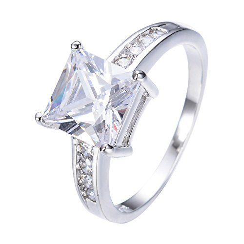 GDSTAR Shining White Square Rectangle Zircon Ring White Gold Filled Cute B Promise Rings