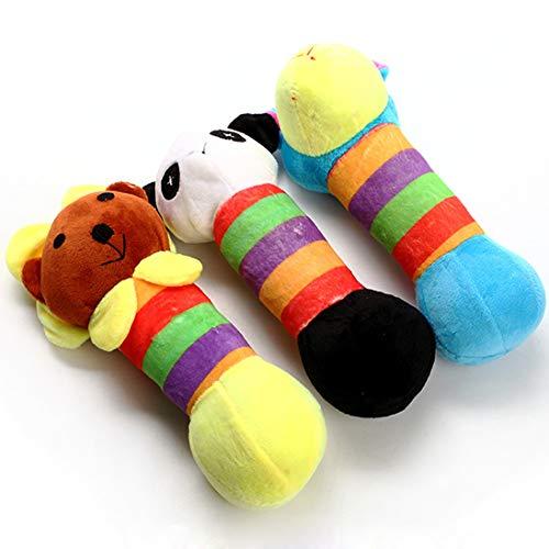 (DENTRUN Dog Interactive Chew Training Tug War Playing-Dog Toy,Bite Rod Squeaking Plush Toys Small Medium Dogs Aggressive Chewers,Set of 3)