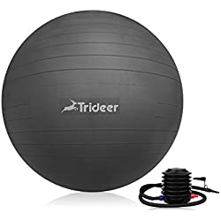Trideer Exercise Ball (45-85cm) Yoga Ball Chair, Anti-Burst & Extra Thick, Birthing Ball with Quick Pump, Supports 2200lbs, Stability Ball (Office and Home)