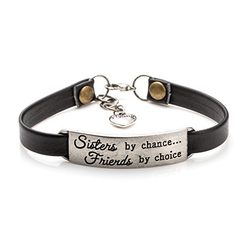 Friendship Gift for Sister Inspirational Leather Wrap Bracelets Jewelry for Friends(Sisters by Chance Friends By Choice)