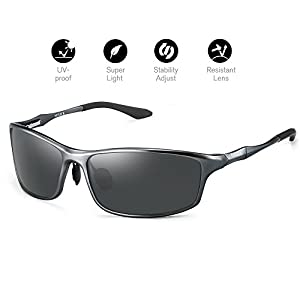 Soxick Polarized Sunglasses for Men UV400 Al-Mg Metal Classic Retro Wayfarer Sunglasses