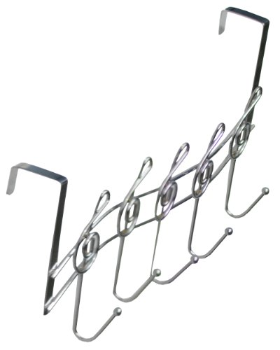 Southern Homewares Music Note Treble Clef Shape Over The Door 5-Hook Hanger Metal Rack, Chrome Plated