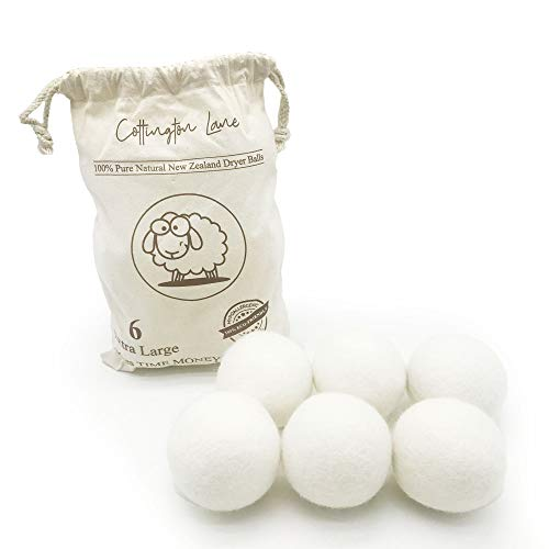 Cottington Lanes Premium Quality Wool Dryer Balls, Pack of 6-pieces, XL-Size, Reusable Natural Fabric Softener ( White, XL size, set of 6 pieces)
