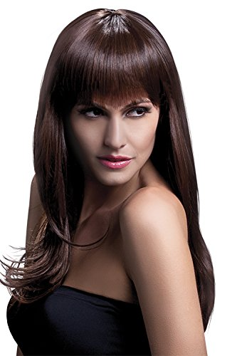 Fever Women's Long Feathered Brown Wig with Bangs, 26inch, One -
