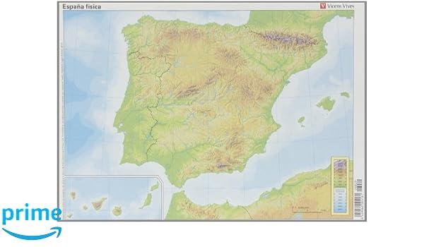 Mapa Politico De España Mudo Vicens Vives.Mapa Espana Fisica 50 Unidades Amazon Es Vv Aa Libros