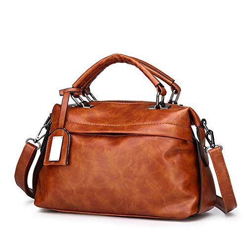 (Women PU Leather Hobo Bag Vintage Boston Top-handle Bags Fashion Sling Brown Shoulder Bag for Ladies)
