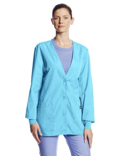 (Cherokee Women's Workwear Scrubs Cardigan Warm-up Jacket, Turquoise, X-Small)