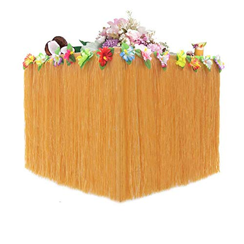Hawaiian Grass Table Skirt with Flower Trim,9ft Perfect Themed Party Decorations for Tiki Bars and luau Birthday Party Supplies ()
