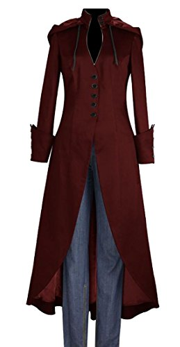 GAGA Women's Medieval Gothic Tuxedo Hooded Long Jacket Coat Outwear Wine Red S (Ladies Tuxedo)