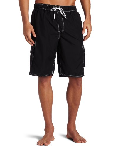 Kanu Surf Men's Barracuda Swim Trunks (Regular & Extended Sizes), Black, Large