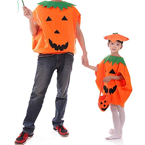 Halloween Pumpkin Costume Set, Loose Top Dress+Hat Fancy Cosplay Costume Set Family Clothes Outfits (4PCS) -