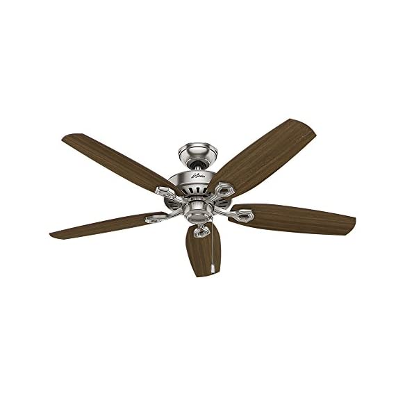 Hunter Indoor Ceiling Fan, with pull chain control - Builder Plus 52 inch, Brushed Nickel, 53237 5 Designed for large rooms up to 485 square feet and equipped with Installer's Choice 3 position mounting system for standard Can be installed with or without 180 watt three light fixture (3 60 watt candelabra bulbs included).An excellent choice for use in the home or office Whisper wind motor. Reversible motor allows you to change the direction of your fan from downdraft mode during the summer to updraft mode during the winter Exclusive Hunter motor technology and hanging system that ensure your fan will remain quiet for Life and wobble free. For indoor use only, Installer's Choice three position mounting system allows for standard, low or angled mounting