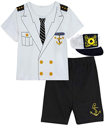 COSLAND Infant Baby Boys' Halloween Custome Captain Clothing Set with hat(Captain, 6-9 -
