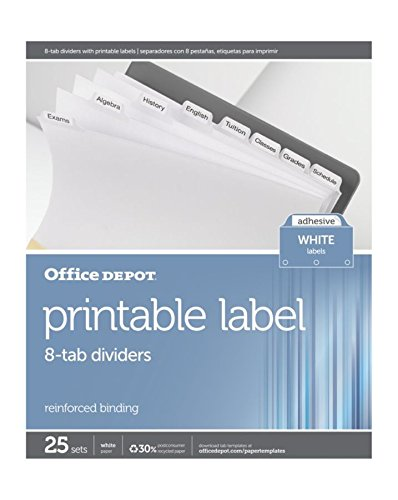 Office Depot Plain Dividers With Tabs And Labels, White, 8-Tab, Pack Of 25 Sets, 11354