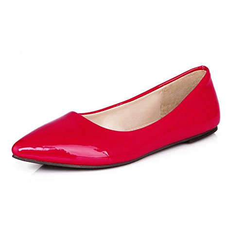 LongFengMa Women Casual Flat Shoes Fashion Lady Sweet Candy Colors Pointed Toe Loafers Red jq1CJnCa