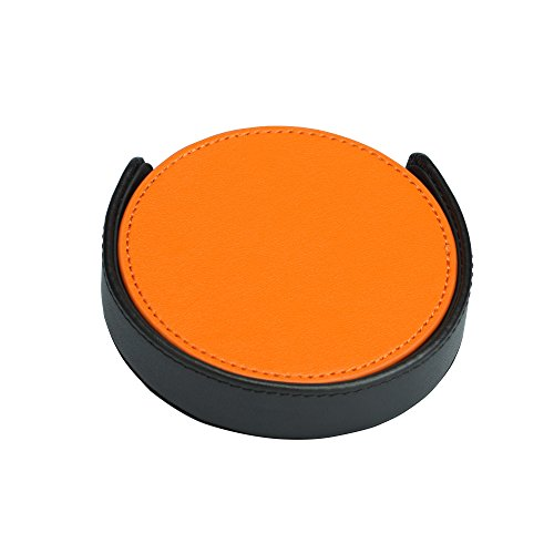 4 Pieces Orange Coaster with Black Holder by Magic Vosom (Faux Leather Coaster Set)