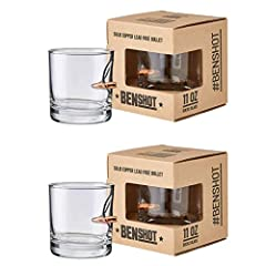 #bulletproof rocks glass from the father and son team at BenShot. Each rocks glass is hand-sculpted to create a unique drinking masterpiece. 100% MADE in the USA Set of 2 - 11oz rocks glass made from high-quality glass Real Lead-free 0.308 ca...