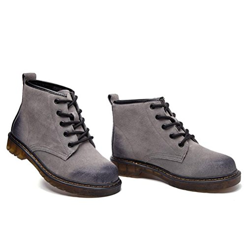 Style1 Stiefel Damen Winter MatchLife Fleece Lederstiefel Schnürhalbschuhe Grau Kurzschaft Erwachsene Boots x1xwUq8P