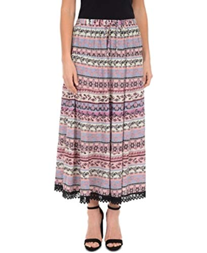 NY Collection Printed Tiered Crochet-Trim Skirt (Sky Victorialine, M) ()