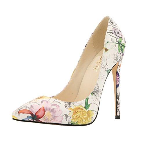 MERUMOTE - Zapatos de vestir de Material Sintético para mujer 46 blanco