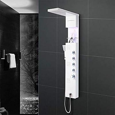 KaO0YaN-Shower Acero Inoxidable Multifunción Mampara De Ducha Luz Led Lluvia Columna De Ducha De Cobre Set De Ducha De Mano Baño, Blanco Columna Ducha: Amazon.es: Bricolaje y herramientas