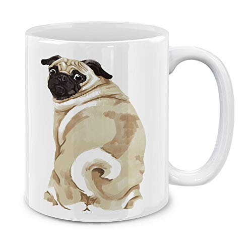 MUGBREW Sitting Back Turn Pug Dog Ceramic Coffee Gift Mug Tea Cup, 11 OZ