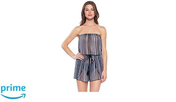 e1577e4a2a98b Becca by Rebecca Virtue Women's Crochet Strapless Romper Swim Cover Up  Black S at Amazon Women's Clothing store: