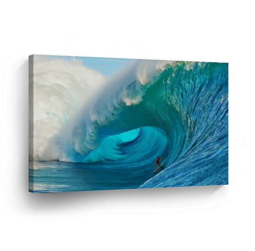 Surfing Guy (Canvas Print Decorative Art Ocean Big Giant Wave Surfing Guy Men Modern Wall Décor Artwork Wrapped Wood Stretcher Bars Vertical- Ready to Hang - %100 Handmade in the USA SURF9_812)