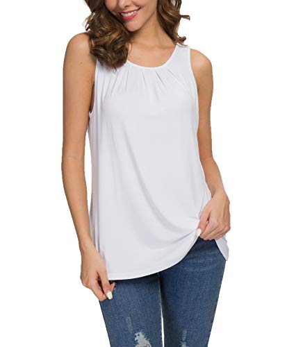 TASAMO Women's Summer Sleeveless Pleated Back Closure Casual Tank Tops (Small, 01 ()