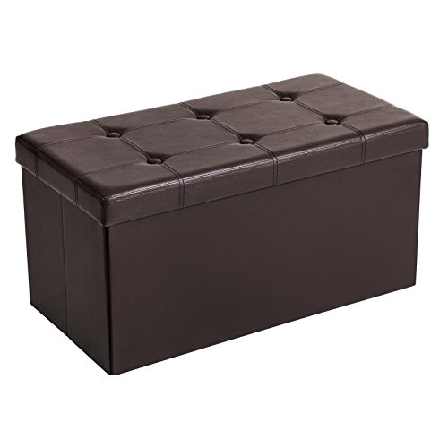 SONGMICS 30 Inches Faux Leather Folding Storage Ottoman Bench, Storage Chest Footrest Coffee Table Padded Seat, Brown ULSF40Z (Faux Brown Leather Footstool)