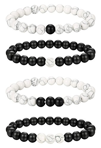LOLIAS 2-4 Pcs Couples Distance Bracelets for Men Women Black Matte Agate & White Howlite Bracelet Bead 8MM ,BW La 2 Pc