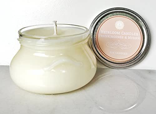 Holiday Candle - Frankincense & Myrrh Scented Soy Candle - Handmade, 8oz