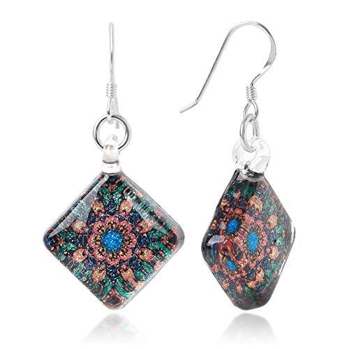 Sterling Silver Hand Blown Murano Glass Multi-Colored Magic Mandala Flower Square Dangle ()