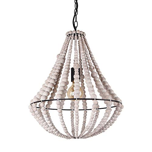 Bead Chandelier - Giluta Conical Wood Bead Chandelier Retro Style Pendant Lamp, Industrial Metal Ring Frame Ceiling Lamp Kitchen Island Vintage Hanging Light Fixtures 1 Light, Gray White (C0045)