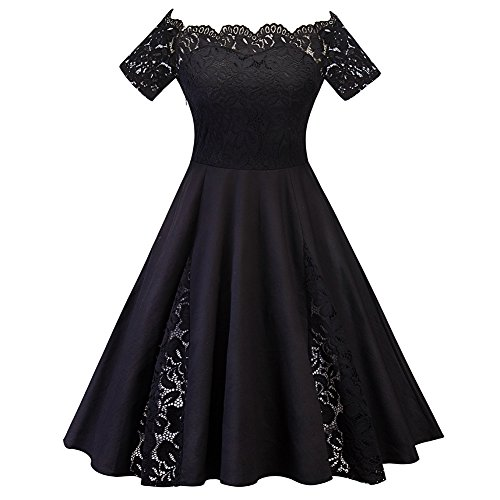 Zwingtonseas Women's Vintage Hepburn Sexy Lace Off-The-Shoulder Short Sleeve Evening Party Cocktail Dress 80s Cocktail Dresses