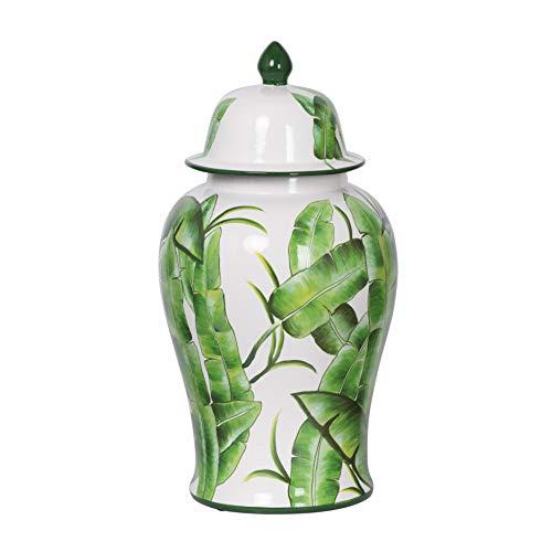 - A&B Home Lovise Palm Lidded Urn Jar Green, White