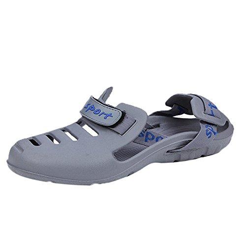 Sunyastor Men's Garden Clogs Anti-Slip Beach Shower Sandals Slip on Massage Outdoor Shoes Walking Summer Slippers for Men Gray
